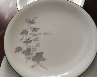 Noritake Ivyne Set of 3 Dinner Plates - Purple & Gray Leaves, Blue Berries - Silver Tone Trim - Made in Japan
