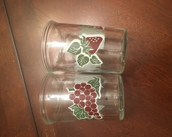 Jelly Jar Juice Glasses - Set of 2 - Apple, Grapes and Strawberry