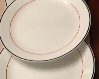 Corelle Plymouth Dinner Plates - Set of 3 - White Plate with Red and Blue Stripe