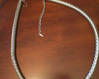 Vintage Whiting & Davis Silver Tone Snake Skin like Mesh Rope Necklace