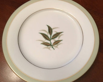 Noritake - Greenbay Salad Plates - Set of 7 - Green Leaves in Center - Made in Japan - 1953-1960