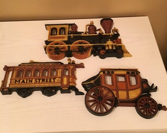 Vintage Homco Train, Trolley (Main Street) and Stage Coach - Made in the U.S.A. - 3 piece set