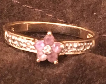 Amethyst in Sterling Silver - Gold Plated - 925 - Size 8