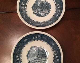 Currier Ives-Taylor Smith & Taylor - Blue Bowls (set of 2)