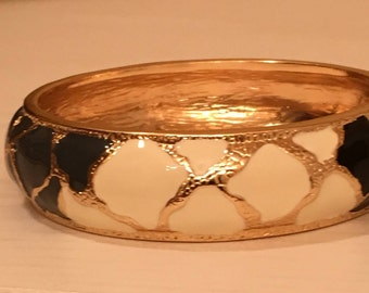 Gold Tone Bangle Bracelet with Black, White and Gray