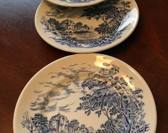 """Enoch Wedgwood """"Countryside"""" Set of 4 Bread and Butter Plates - Made in England - English Scene"""