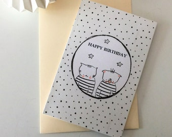 "Folded card ""Choumi et Michou : Happy Birthday"""