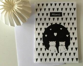 "Folded card ""Choumi et Michou : Thank you"""