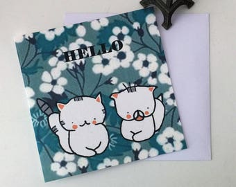 "Folded card for children  ""Choumi et Michou : hello"