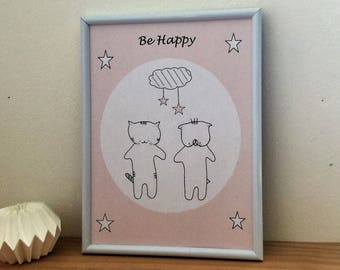 "Graphic poster ""Choumi et Michou :be happy"" - graphic design poster."