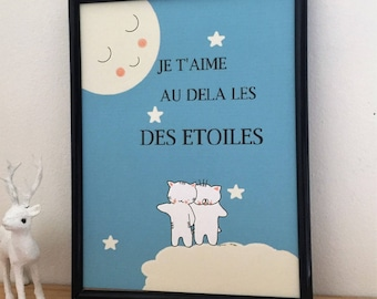 "Graphic poster for children, ""Choumi and Michou : je t'aime au delà les étoiles"