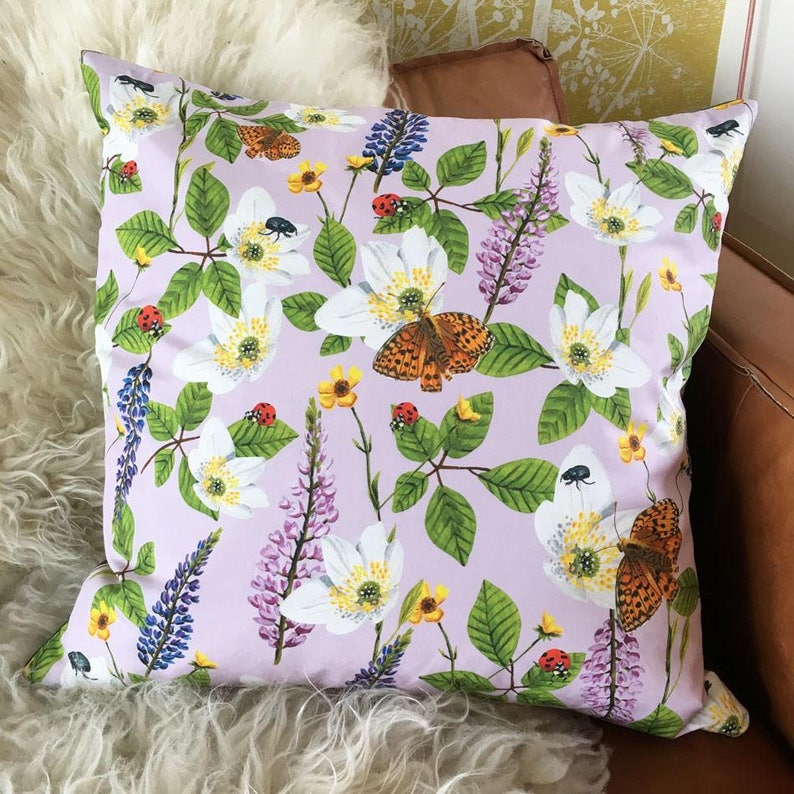 Luxury Cushion Flowers & Insects Lilac image 0