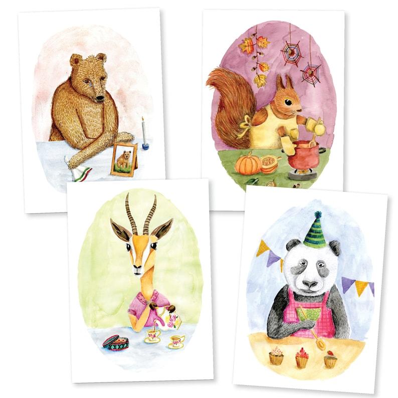 Animal friends  Super fun set of 4 cards image 0