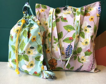 Maxi & Mini set (blue backpack) • Flowers and Insects