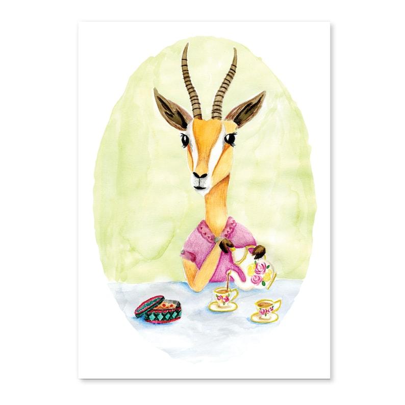 Animal friends  Gazelle pours tea image 0