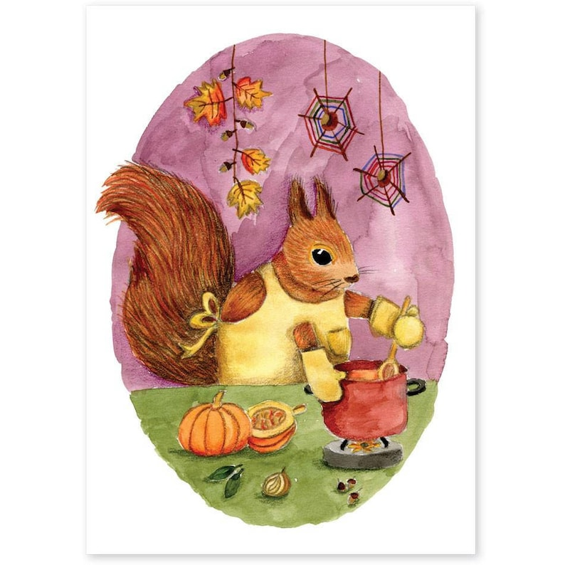 Animal Friends  Squirrel makes pumpkin soup image 0