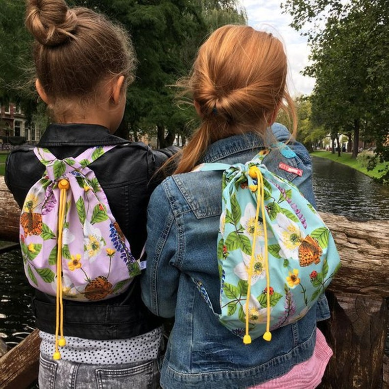 Set of 2 kids backpacks Flowers & Insects image 0