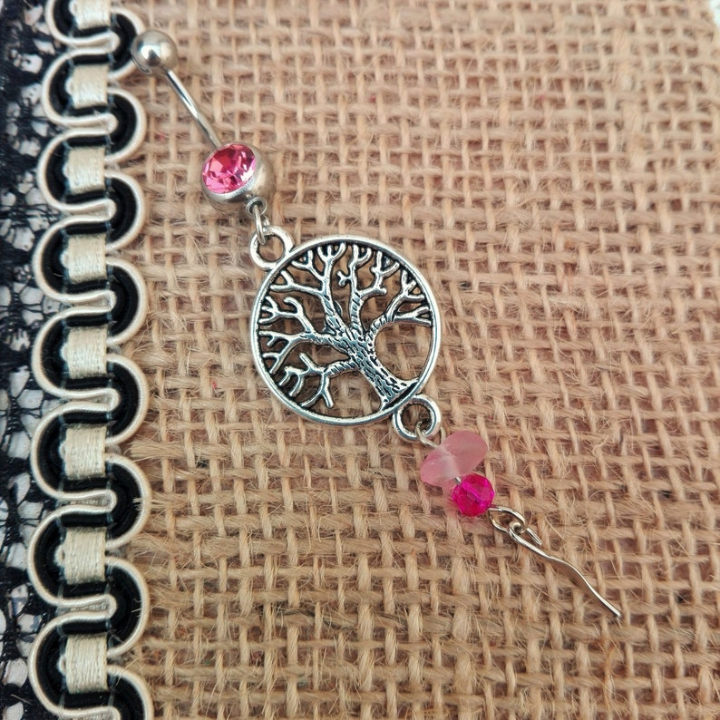 Belly Bar Navel Ring Bohemian 10mm Bar Namaste Handmade Pink Unique Tree of Life 316 Surgical Steel