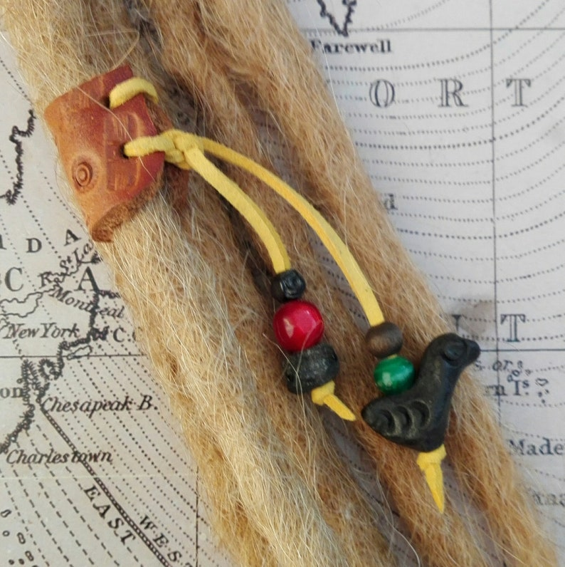 SM Leather Dread Cuff Wrap Bead Up-cycled Genuine Leather DreadBeardHair CuffBead with Beaded Tails. Unique Hand Crafted