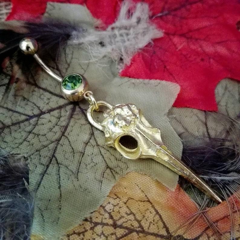 6 Colours Navel bar Viking Raven Skull Dangle 10mm Bar Belly Ring 316L Surgical Steel