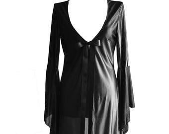 "Long kimono/robe ""mischievous"" black vintage/retro style satin very soft and fluid flying sleeves"