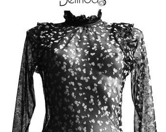 """""""Little heart"""" Bodysuit black printed hearts with glamour ruffle long sleeves"""