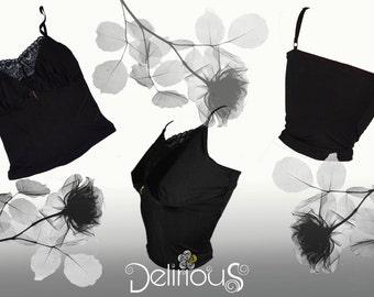154aa6cad13083 Camisole top crazy soft yoke Black Lace adjustable straps