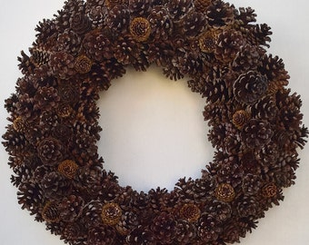 """24"""" Wreath, Pine cone wreath, natural wreath, holiday wreath, christmas wreath, hand made, wired"""