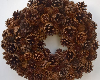 """17"""" Wreath, Pine cone wreath, natural wreath, holiday wreath, christmas wreath, hand made, wired"""
