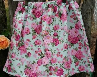 Pink/aqua floral skirt size 8