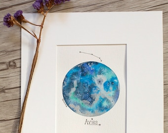 """Aries Blue Moon 4.5""""x6"""" ORIGINAL painting matted for 8x10 framing"""