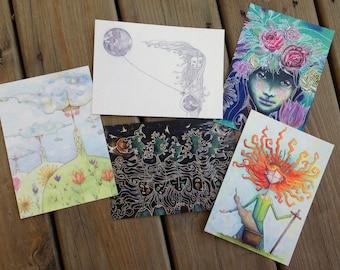 Postcard Set #1: 5 - 5x7 Art Postcards