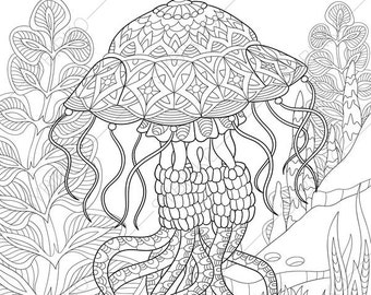 Ocean World Jellyfish Jelly Fish 2 Coloring Pages Animal Book For Adults Instant Download Print