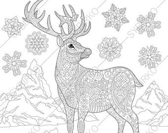 Christmas Reindeer Deer Winter Snowflakes Coloring Page For Greeting Cards Animal Book Pages Adults Instant Download Print
