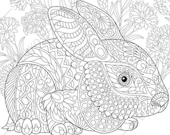 Easter Bunny. Rabbit. Hare. 3 Coloring Pages. Animal coloring book pages for Adults. Instant Download Print