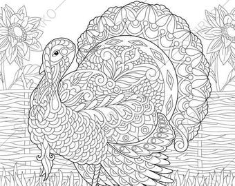 Turkey. Farm Bird. Coloring Pages suitable for Happy Thanksgiving day cards. Animal coloring book pages for Adults. Instant Download Print