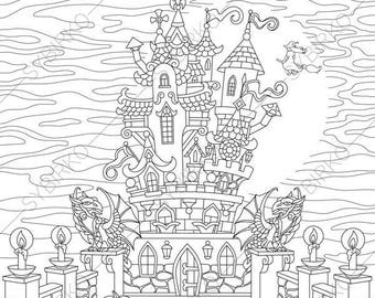 2 Coloring Pages For Happy Halloween Greeting Card Book Kids And Adults Instant Download Print