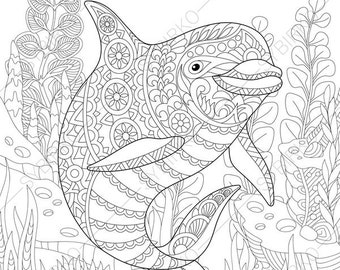 coloring pages for adults ocean world turtle underwater etsy Singapore Aquarium ocean world dolphin 2 coloring pages animal coloring book pages for adults instant download print