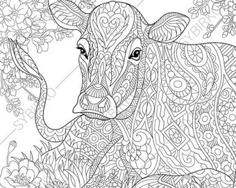 milky cow coloring pages animal coloring book pages for adults instant download print - Cow Coloring Pages 2