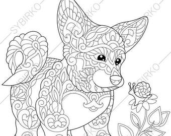 Corgi Coloring Book Etsy