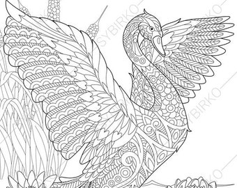Swan. 2 Coloring Pages. Animal coloring book pages for Adults. Instant Download Print