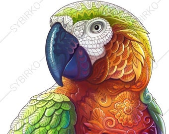 Coloring Pages For Adults Macaw Parrot Tropical Colouring Page Animal Book Instant Download Print