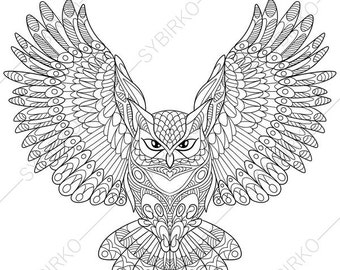 Owl Coloring Page Etsy