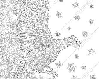 Pheasant Bird. 2 Coloring Pages. Animal coloring book pages for Adults. Instant Download Print