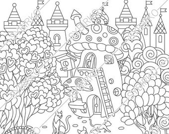 Coloring Pages For Adults Fairy Tale Town Fairytale Castle Fantasy House City Cat Colouring Page Book Instant Download Print