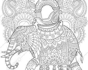 Elephant Indian Decorations Coloring Pages Animal Book For Adults Instant Download Print