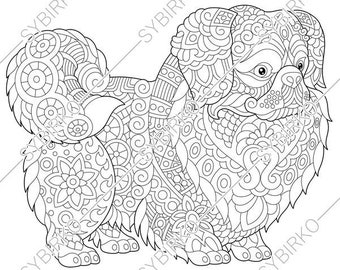 Coloring Pages For Adults Pekingese Japanese Chin Dog Puppy Pets Animals Colouring Page Book Instant Download Print