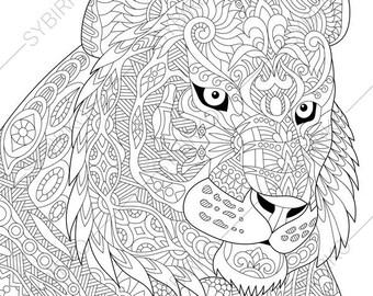 tiger coloring book etsy