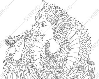 Vintage Queen. Coloring Pages. Coloring book pages for Kids and Adults. Instant Download Print