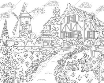 Rural Farm house. Coloring Pages. Coloring book pages for Kids and Adults. Instant Download Print